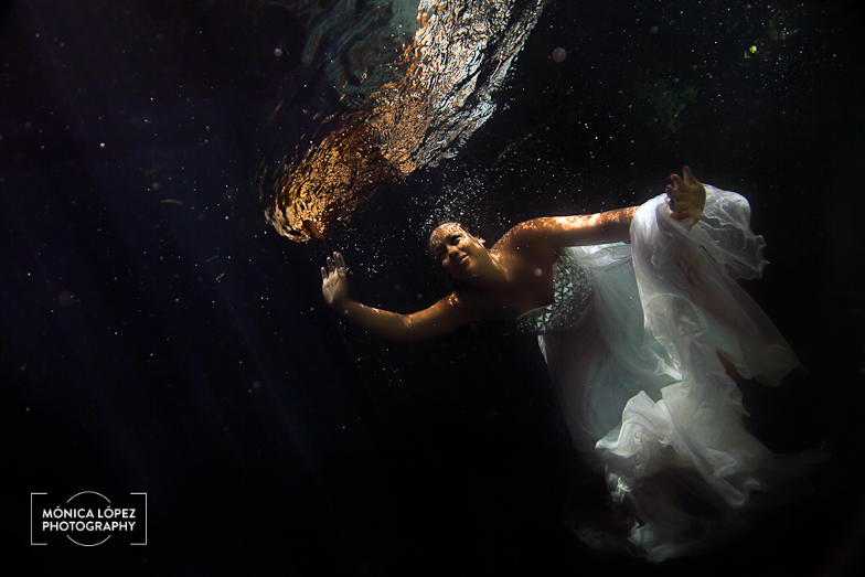 Riviera Maya Underwater Trash The Dress by Monica Lopez Potography
