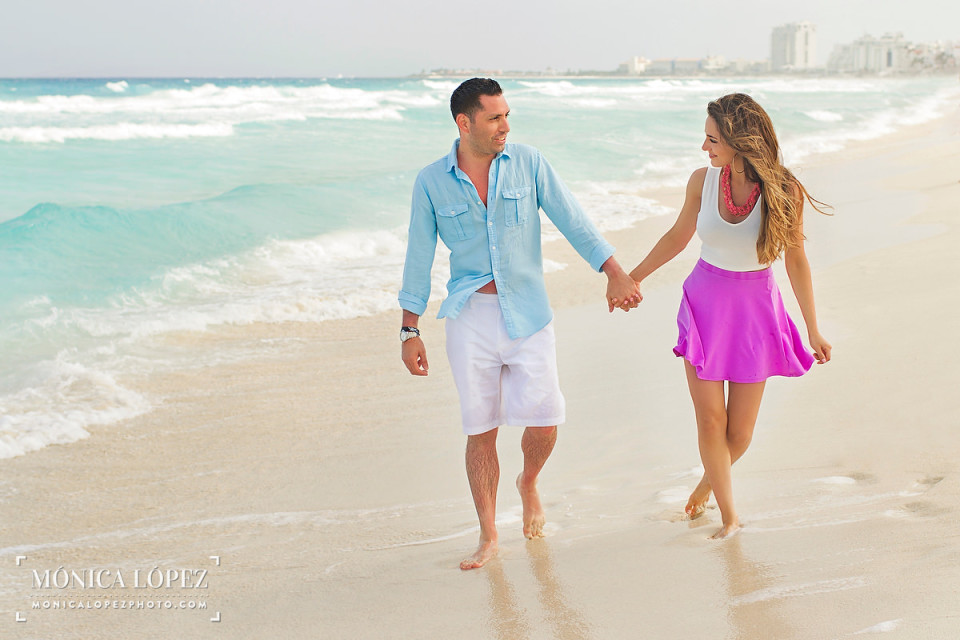Cancun Beach Engagement Portraits by Monica Lopez Photography