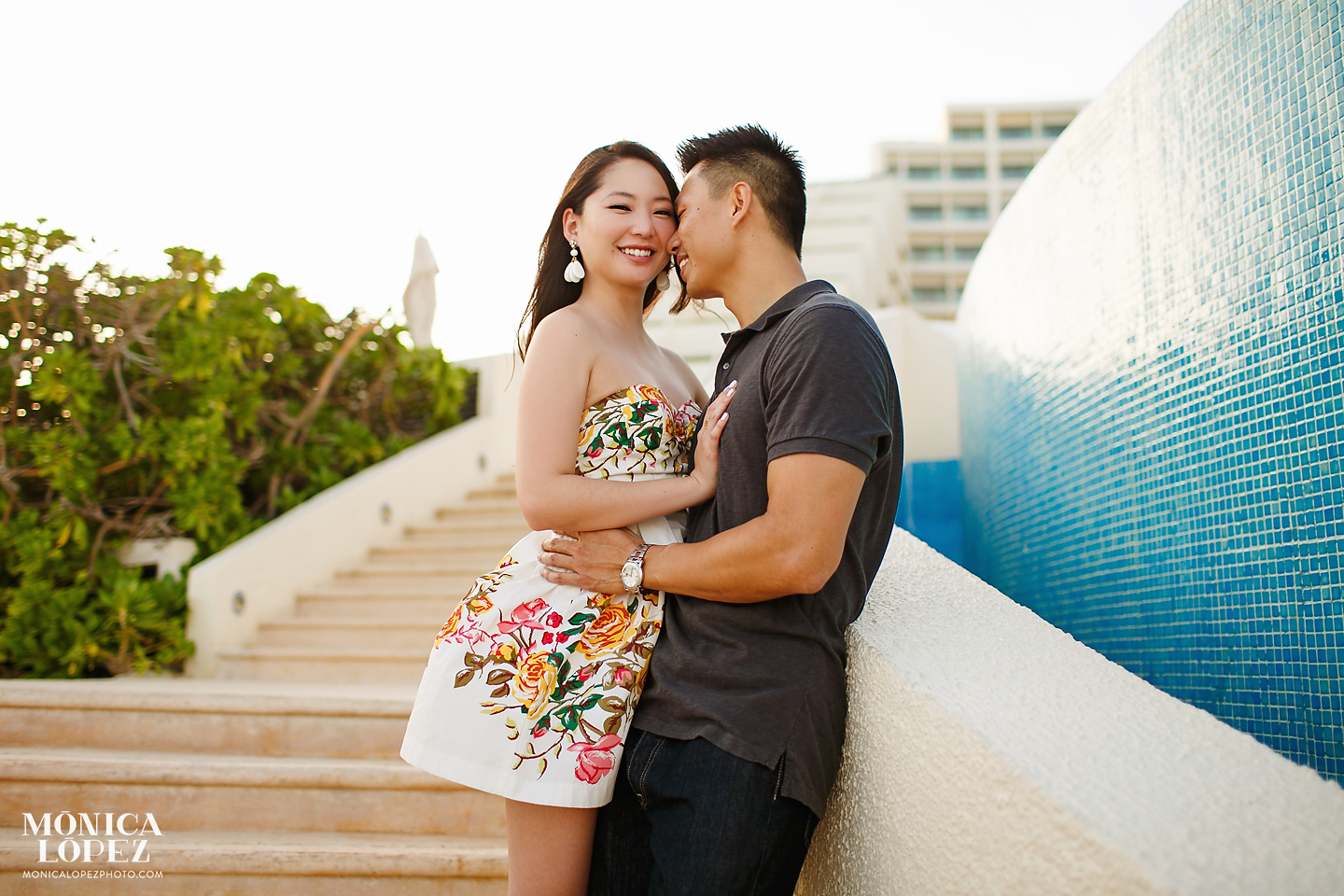 Live Aqua Cancun Engagement Portraits by Monica Lopez Photography