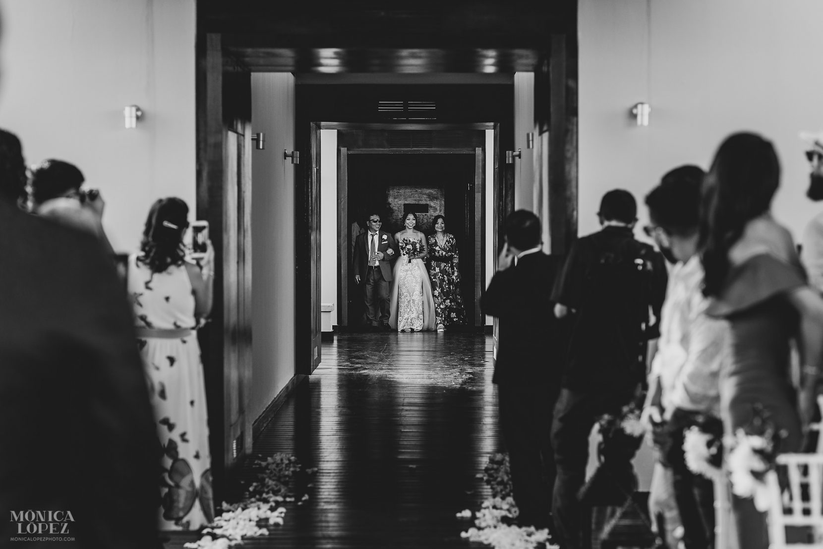 Royalton Riviera Cancun Hideaway Sky Terrace Wedding - Bride walking down the aisle